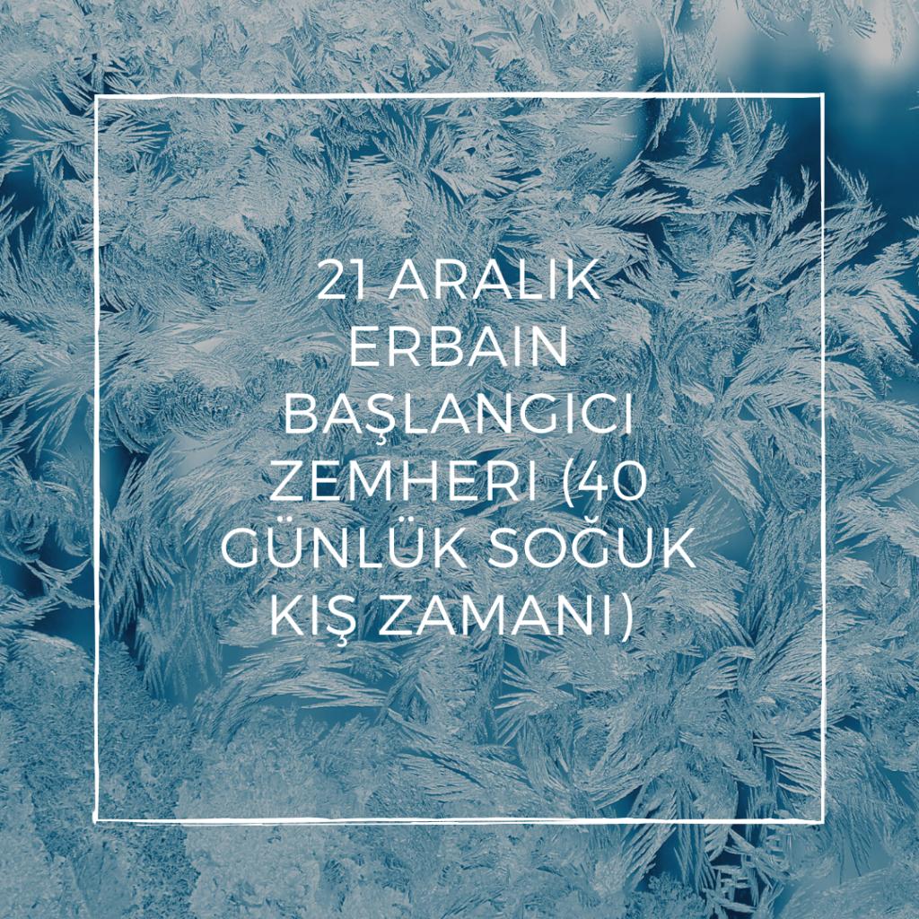 21 Aralık - Erbain başlangıcı (Zemheri'nin 40 günlük soğuk kış zamanı) Gün dönümü  - En uzun gece – Gün Dönümü Fırtınası - Doğanın Takvimi